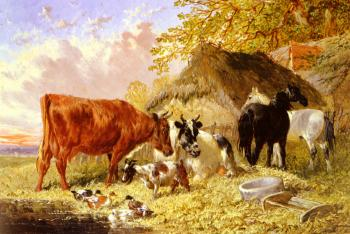 Horses, Cows, Ducks and a Goat by a Farmhouse
